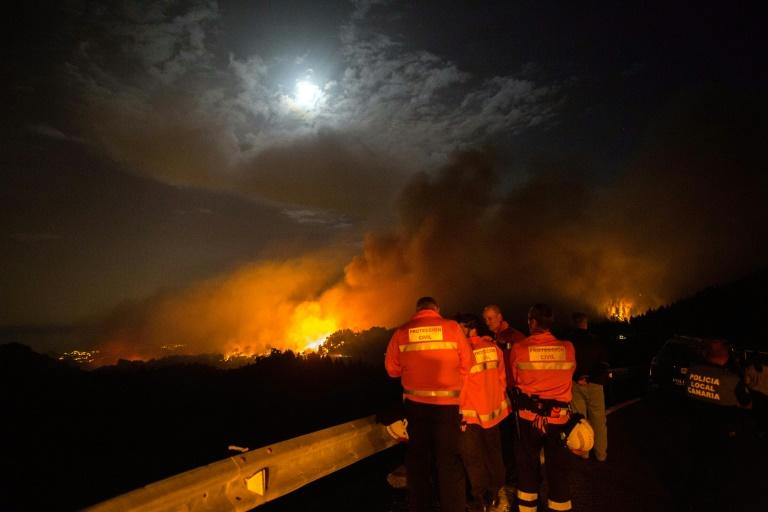 Firefighters and police officers watch the forested peaks of Valleseco engulfed in flames (AFP Photo/DESIREE MARTIN)