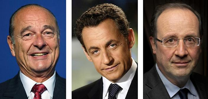 Documents appearing to reveal spying on Jacques Chirac (L), Nicolas Sarkozy (C) and Francois Hollande (R) from 2006 to 2012 were published by WikiLeaks in partnership with French newspaper Liberation and the Mediapart website (AFP Photo/)