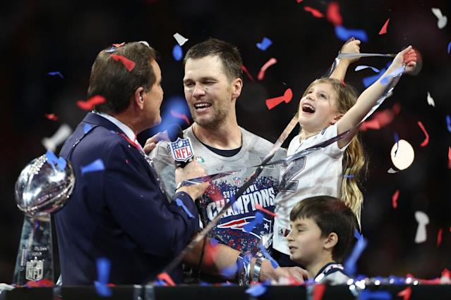 "<a class=""link rapid-noclick-resp"" href=""/nfl/players/5228/"" data-ylk=""slk:Tom Brady"">Tom Brady</a> and daughter Vivian celebrate another win. (Getty)"