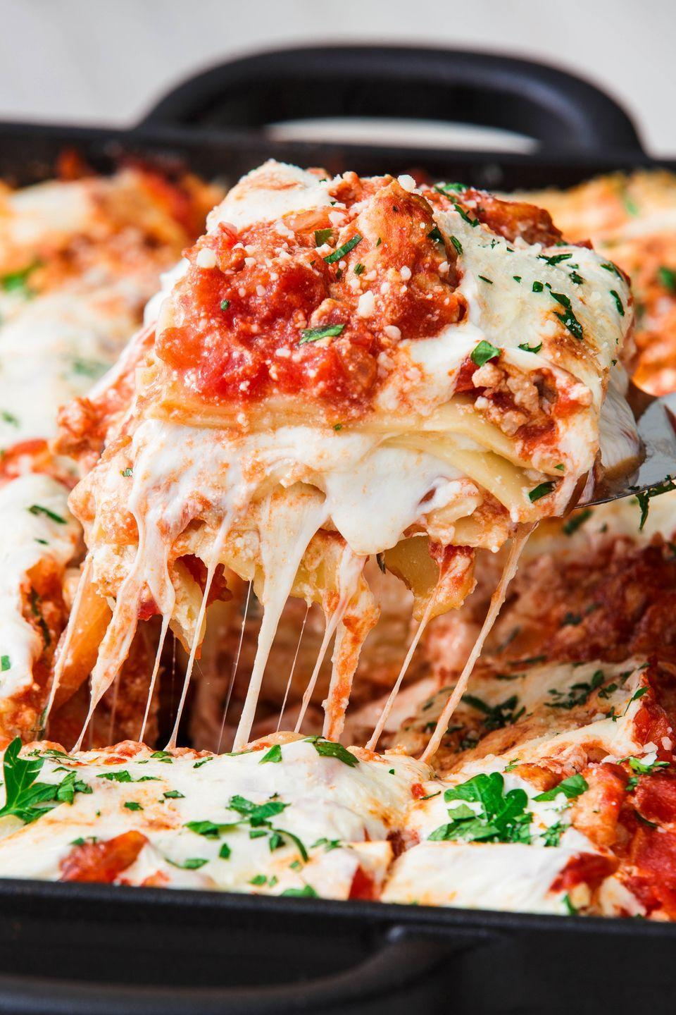 """<p>Everything you love about a <a href=""""https://www.delish.com/cooking/recipe-ideas/recipes/a51337/classic-lasagna-recipe/"""" rel=""""nofollow noopener"""" target=""""_blank"""" data-ylk=""""slk:traditional lasagna"""" class=""""link rapid-noclick-resp"""">traditional lasagna</a>, only you'll feel a little better after destroying a big slice. </p><p>Get the recipe from <a href=""""https://www.delish.com/cooking/recipe-ideas/a23480922/turkey-lasagna-recipe/"""" rel=""""nofollow noopener"""" target=""""_blank"""" data-ylk=""""slk:Delish"""" class=""""link rapid-noclick-resp"""">Delish</a>. </p>"""