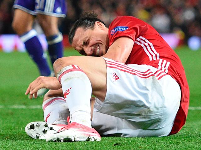 Zlatan Ibrahimovic won't play again this season after suffering a cruciate knee ligament injury: Getty