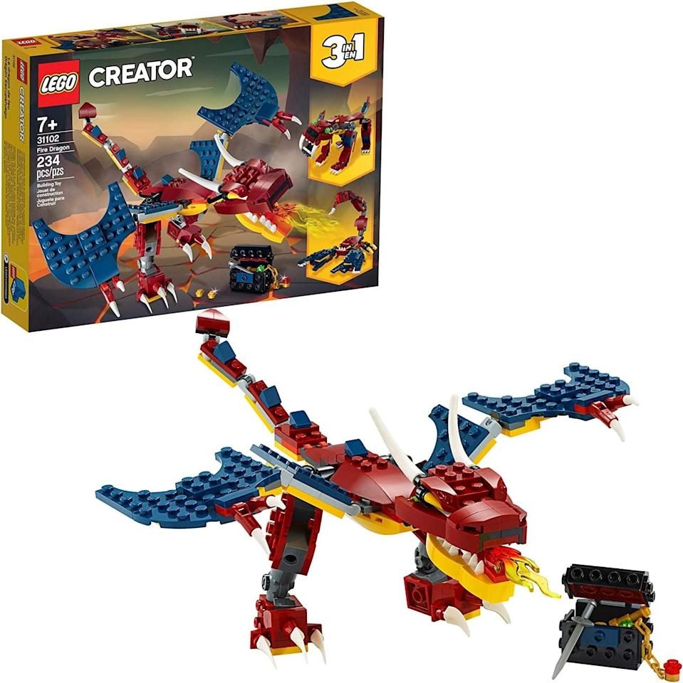 "<p>The <a href=""https://www.popsugar.com/buy/Lego-Creator-Fire-Dragon-551158?p_name=Lego%20Creator%20Fire%20Dragon&retailer=amazon.com&pid=551158&price=20&evar1=moms%3Aus&evar9=47244751&evar98=https%3A%2F%2Fwww.popsugar.com%2Ffamily%2Fphoto-gallery%2F47244751%2Fimage%2F47244755%2FLego-Creator-Fire-Dragon&list1=toys%2Clego%2Ctoy%20fair%2Ckid%20shopping%2Ckids%20toys&prop13=api&pdata=1"" class=""link rapid-noclick-resp"" rel=""nofollow noopener"" target=""_blank"" data-ylk=""slk:Lego Creator Fire Dragon"">Lego Creator Fire Dragon</a> ($20) has 234 pieces and is best suited for kids ages 7 and up.</p> <p>Related: <a href=""https://www.popsugar.com/family/spin-master-how-to-train-your-dragon-flying-toothless-toy-47247341?utm_medium=partner_feed&utm_source=yahoo_publisher&utm_campaign=related%20link"" rel=""nofollow noopener"" target=""_blank"" data-ylk=""slk:Spin Master Has Done It Again! See the Adorable Flying Toothless Toy Hitting Shelves This Year"" class=""link rapid-noclick-resp"">Spin Master Has Done It Again! See the Adorable Flying Toothless Toy Hitting Shelves This Year</a></p>"
