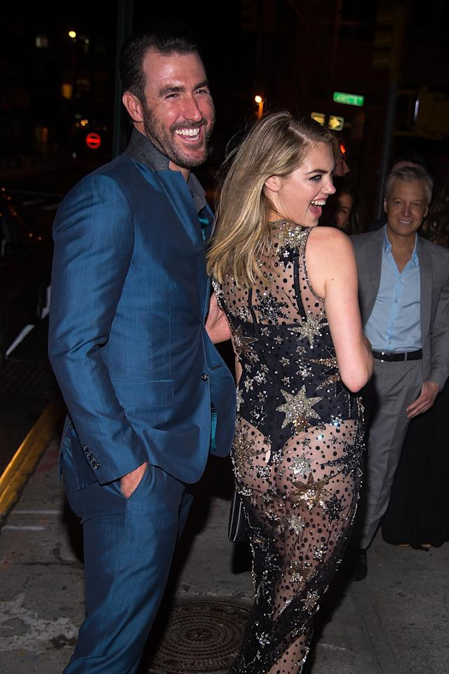 <p>Justin Verlander (L) and model Kate Upton attend Carine Roitfeld hosts birthday party for Kate Upton at The Blond at 11 Howard Hotel on June 8, 2016 in New York City. (Photo by Michael Stewart/Getty Images) </p>