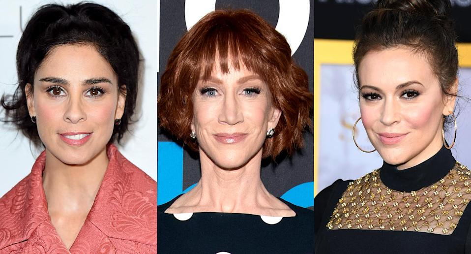 Sarah Silverman, Kathy Griffin, and Alyssa Milano. (Photo: AP Images/Getty Images)