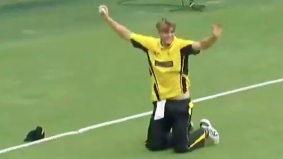 Cameron Green celebrates after holding on to an incredible boundary line catch for Western Australia against Queensland in the Marsh Cup.