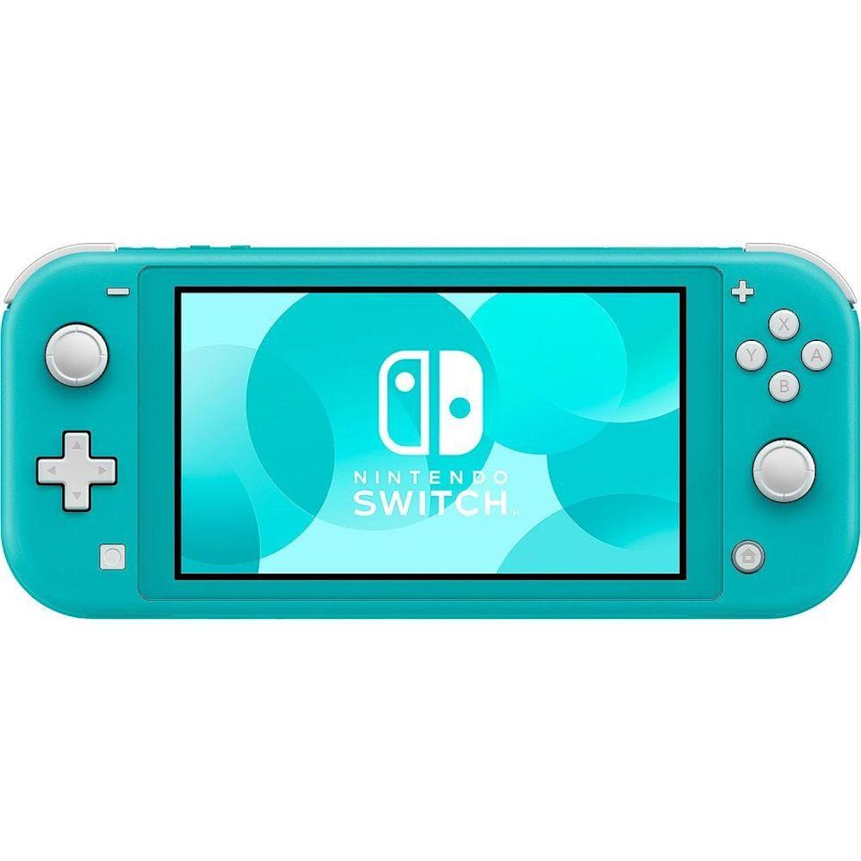 """<p><strong>Nintendo</strong></p><p>amazon.com</p><p><strong>$199.00</strong></p><p><a href=""""https://www.amazon.com/dp/B07V4GCFP9?tag=syn-yahoo-20&ascsubtag=%5Bartid%7C10049.g.8274845%5Bsrc%7Cyahoo-us"""" rel=""""nofollow noopener"""" target=""""_blank"""" data-ylk=""""slk:Shop Now"""" class=""""link rapid-noclick-resp"""">Shop Now</a></p><p>If she doesn't have a Nintendo Switch, chances are she's been wishing for one.</p>"""