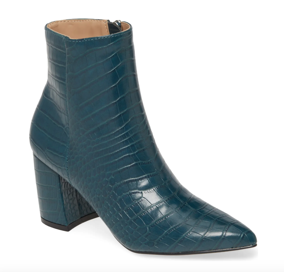 Steve Madden Nadalie Pointed Toe Bootie in Turquoise Croco (Photo via Nordstrom)