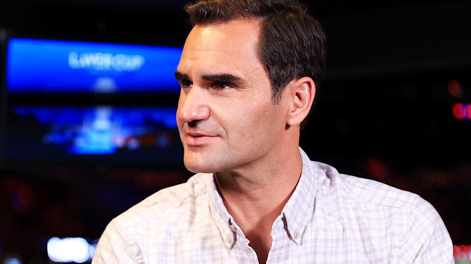 Roger Federer, pictured here speaking during an interview at the Laver Cup.