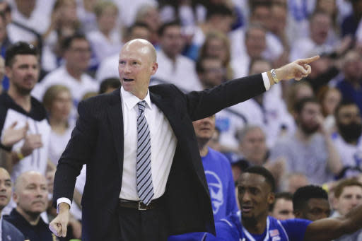 Seton Hall coach Kevin Willard gestures during the second half of an NCAA college basketball game against Creighton in Omaha, Neb., Saturday, March 7, 2020. Creighton won 77-60. (AP Photo/Nati Harnik)