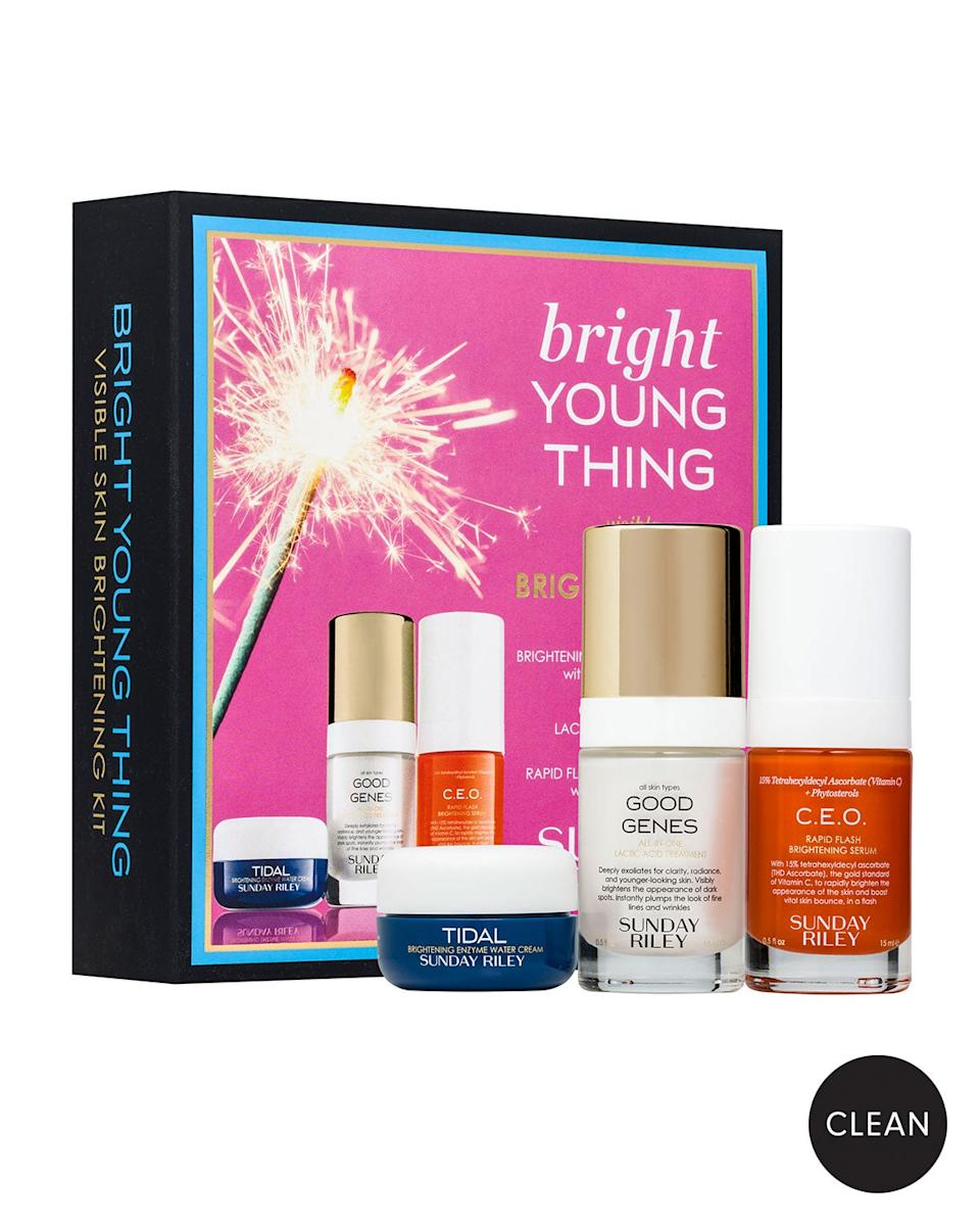 "<h3>Sunday Riley Bright Young Thing Set<br></h3><br>Yes, I know that this is the second time Sunday Riley is on this list. They. Are. That. Good! But seriously — scoring three deluxe-size products for under $70 is virtually unheard of when it comes to luxury skin care.<br><br><strong>Sunday Riley</strong> Bright Young Thing Set, $, available at <a href=""https://go.skimresources.com/?id=30283X879131&url=https%3A%2F%2Fwww.neimanmarcus.com%2Fp%2Fsunday-riley-modern-skincare-bright-young-thing-set-117-value-prod209700006%23locklink"" rel=""nofollow noopener"" target=""_blank"" data-ylk=""slk:Neiman Marcus"" class=""link rapid-noclick-resp"">Neiman Marcus</a>"