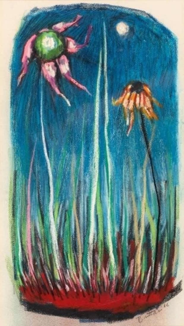 Miller Brittain was known for pastel works in the 1960s. This is titled Flowers.