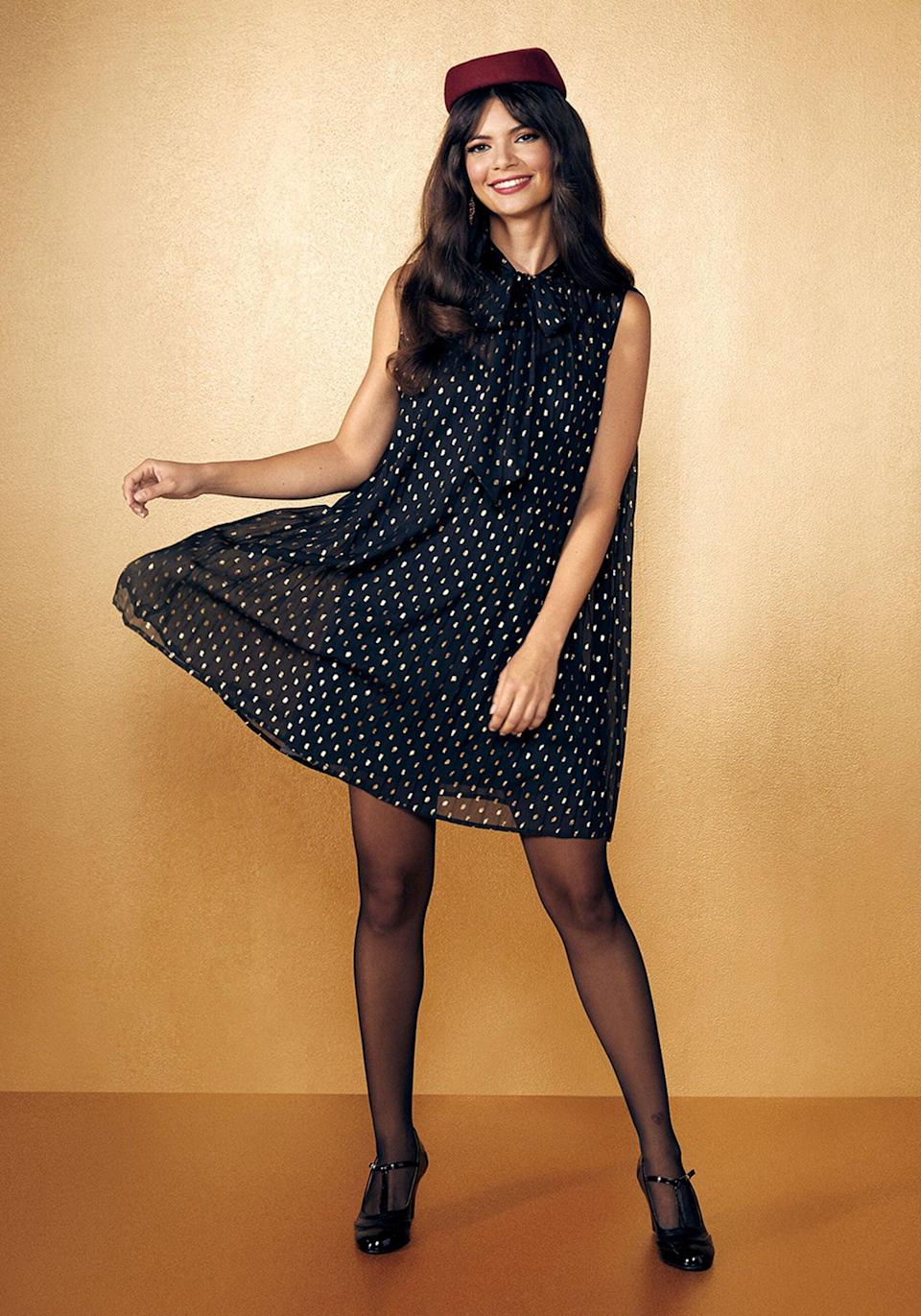 <p>You can never go wrong with the <span>Era by ModCloth The Dots Must Be Crazy Shift Dress</span> ($79). The little black dress, but make it glam.</p>