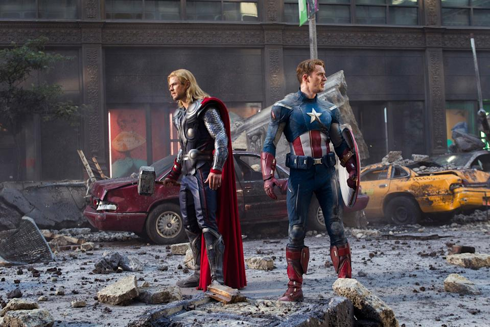 """Chris Hemsworth and Chris Evans team up as Thor and Captain America respectively in """"The Avengers."""""""