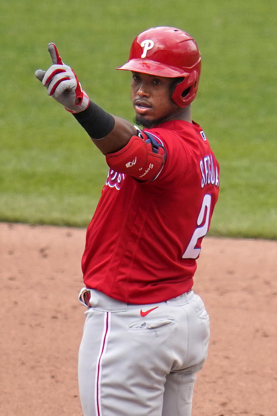 Philadelphia Phillies' Jean Segura stands on second base after hitting a double off Pittsburgh Pirates relief pitcher Cody Ponce, driving in a run during the sixth inning of a baseball game in Pittsburgh, Sunday, Aug. 1, 2021. (AP Photo/Gene J. Puskar)