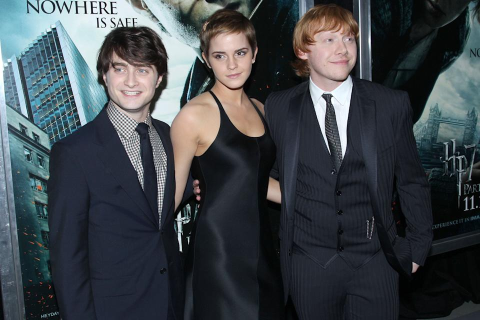 NEW YORK CITY, NY - NOVEMBER 15: (L-R) Daniel Radcliffe, Emma Watson, Rupert Grint and Tom Felton attend New York Premiere of HARRY POTTER AND THE DEATHLY HALLOWS at Alice Tully Hall on November 15, 2010 in New York City. (Photo by JIMI CELESTE/Patrick McMullan via Getty Images)