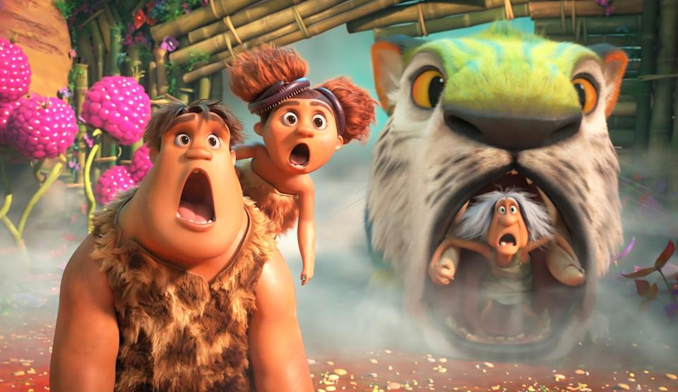 Thunk, Sandy and Gran in The Croods: A New Age.  (Movie still: United International Pictures)