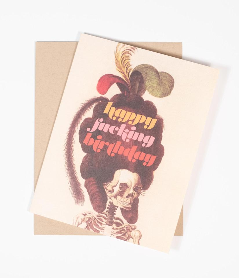 """<p>Celebrate your ghoul-friend's special day with this <product href=""""https://www.unique-vintage.com/products/birthday-skeleton-card?variant=31920623517798"""" target=""""_blank"""" class=""""ga-track"""" data-ga-category=""""Related"""" data-ga-label=""""https://www.unique-vintage.com/products/birthday-skeleton-card?variant=31920623517798"""" data-ga-action=""""In-Line Links"""">Birthday Skeleton Card</product> ($6).</p>"""
