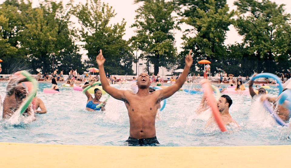 The pool scene for the song