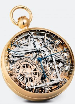 "<p>Commissioned for Marie-Antoinette by a secret admirer in 1783, the No.1160 was the most complicated watch ever created at the time (it wasn't finished until 1827 - some 34 years after her death). Now, the timepiece has been immaculately replicated. Comprising 823 parts, there's a display showing the difference between civil and solar time, in addition to a chronograph, a power reserve indicator and a bimetallic thermometer.<br></p><p><strong> </strong></p><p><i>The timepiece is not for sale but was estimated to be worth USD 30 million in 2013, <a rel=""nofollow"" href=""http://breguet.com"">breguet.com</a></i></p>"