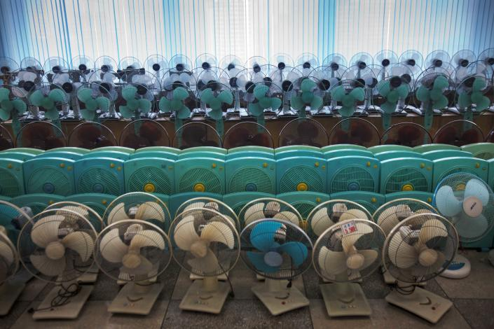 In this Sunday Oct. 9, 2011 photo, North Korean-made electric fans are displayed for sale at Pyongyang Department Store No. 1 in downtown Pyongyang, North Korea. (AP Photo/David Guttenfelder)