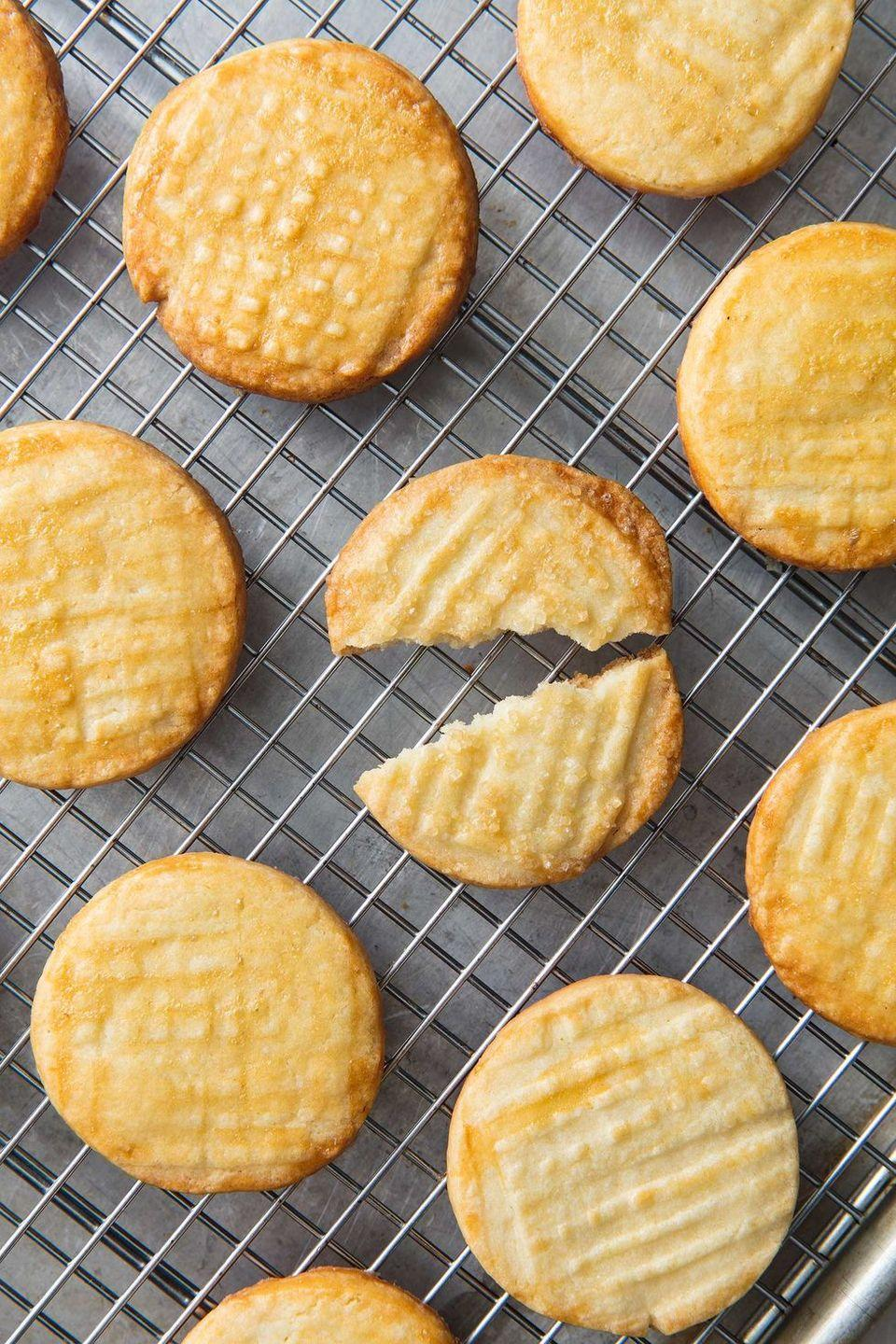 "<p>Butter cookies are a classic, and this recipe only takes five minutes to prep, so it's the perfect recipe to choose if you're short on time. </p><p><strong><em>Get the recipe at <a href=""https://www.delish.com/cooking/recipe-ideas/a20138735/butter-cookies-recipe/"" rel=""nofollow noopener"" target=""_blank"" data-ylk=""slk:Delish"" class=""link rapid-noclick-resp"">Delish</a>.</em></strong></p>"