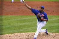 New York Mets relief pitcher Jeurys Familia throws during the third inning of a spring training baseball game against the Washington Nationals, Thursday, March 4, 2021, in Port St. Lucie, Fla. (AP Photo/Lynne Sladky)