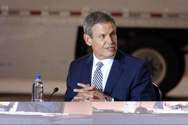 PHOTO: Tennessee Governor Bill Lee participated in a roundtable discussion with Vice President Mike Pence in an Air National Guard hangar at Memphis International Airport in Memphis, Tenn., Dec. 3, 2020. (Karen Focht/ZUMA Wire via Newscom)