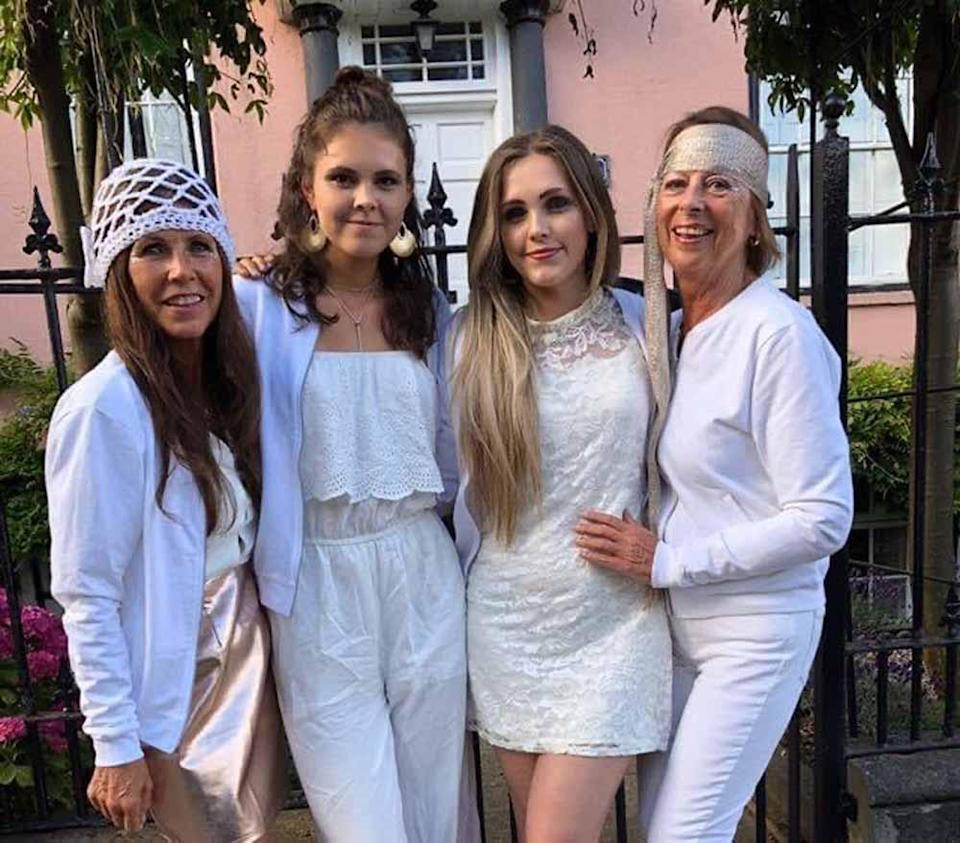 Jane and her two daughters on her hen party in May 2016(Collect/PA Real Life).