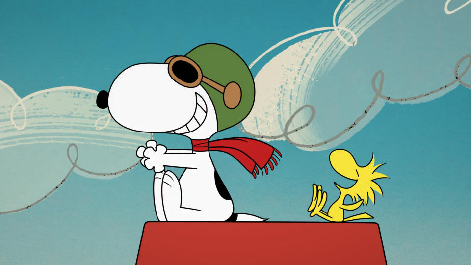 "This image released by Apple shows animated characters Snoopy, left, and Woodstock from the original series ""The Snoopy Show,"" premiering Feb. 5 on Apple TV+. (Apple via AP)"