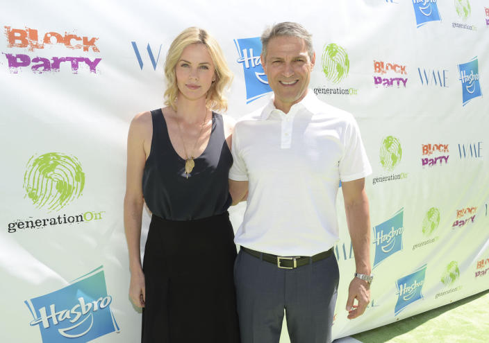 Actress Charlize Theron and Ari Emanuel, co-CEO of William Morris Endeavor. (Photo: Michael Kovac/Getty Images for generationOn)