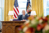 President Joe Biden speaks before signing the American Rescue Plan, a coronavirus relief package, in the Oval Office of the White House, Thursday, March 11, 2021, in Washington. (AP Photo/Andrew Harnik)
