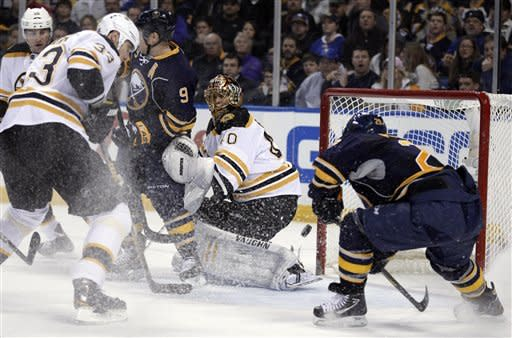 Buffalo Sabres' Jason Pominville (29) scores on Boston Bruins goalie Tuukka Rask, of Finland, during the first period of an NHL hockey game in Buffalo, N.Y., Wednesday, Feb. 8, 2012. (AP Photo/David Duprey)