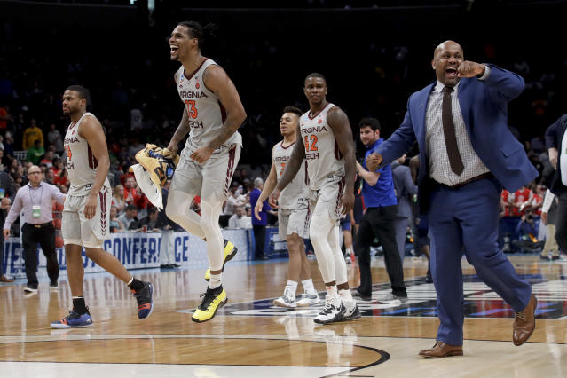 Virginia Tech guard Ahmed Hill celebrates after their win against Liberty during a second-round game in the NCAA men's college basketball tournament Sunday, March 24, 2019, in San Jose, Calif. (AP Photo/Jeff Chiu)