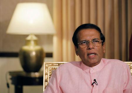 FILE PHOTO: Sri Lanka's President Maithripala Sirisena speaks during an interview with Reuters at his residence in Colombo, Sri Lanka May 4, 2019. REUTERS/Dinuka Liyanawatte/File Photo