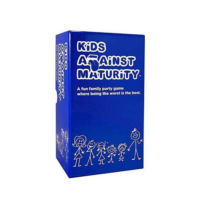"""<p><strong>Kids Against Maturity</strong></p><p>amazon.com</p><p><strong>$29.99</strong></p><p><a href=""""https://www.amazon.com/dp/B076PRWVFG?tag=syn-yahoo-20&ascsubtag=%5Bartid%7C10055.g.29003353%5Bsrc%7Cyahoo-us"""" rel=""""nofollow noopener"""" target=""""_blank"""" data-ylk=""""slk:Shop Now"""" class=""""link rapid-noclick-resp"""">Shop Now</a></p><p>You've heard of Cards Against Humanity, but here's Kids Against Maturity. It's a gift for the whole family as there are age appropriate jokes and funny innuendos for parents.</p>"""