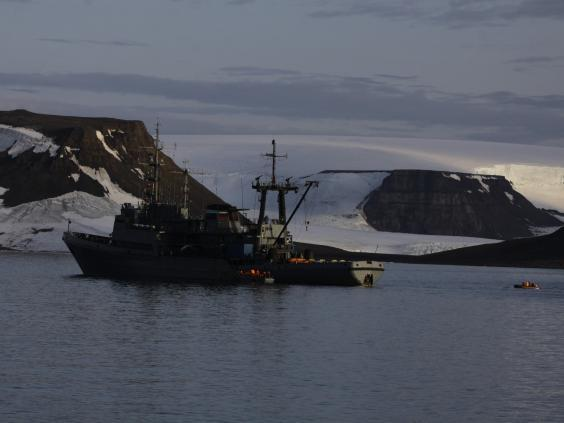 The main Russian naval vessel taking part in the Franz Josef Land expedition (Northern Fleet)