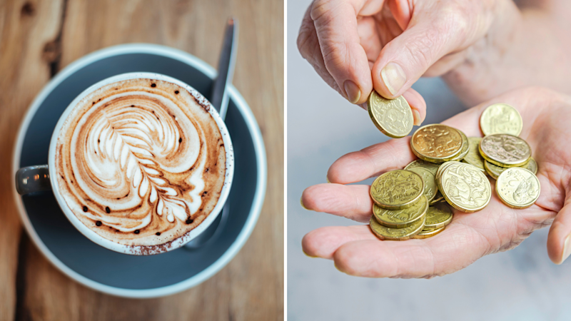 Pictured: Cup of coffee in Australia, Australian coins. Images: Getty