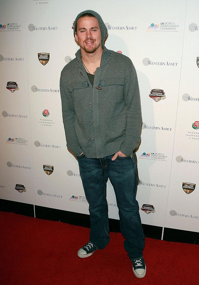 """Actor Channing Tatum bucked the black trend and opted for dressed-down jeans and sneakers. It's sort of a sporting event, so casual's cool, but was it really necessary to wear the matching hat? Jesse Grant/ <a href=""""http://www.gettyimages.com/"""" target=""""new"""">GettyImages.com</a> - January 6, 2010"""