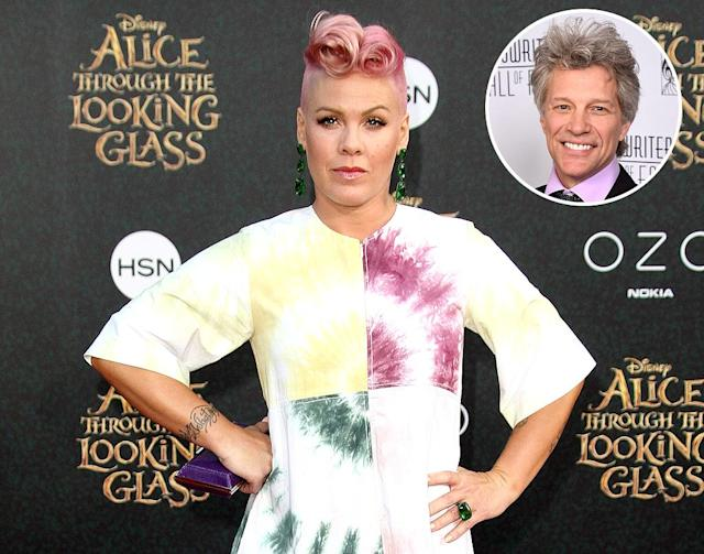 Pink, in 2016, loved Jon Bon Jovi from an early age, and let him know all about it when they met after she became famous. (Photos: Getty Images)