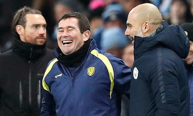 Burton's Brian Clough was in jovial mood after his side's Carabao Cup hammering at Manchester City: 'They were shouting: 'We want 10'. And we stopped them, that's a positive for us.'