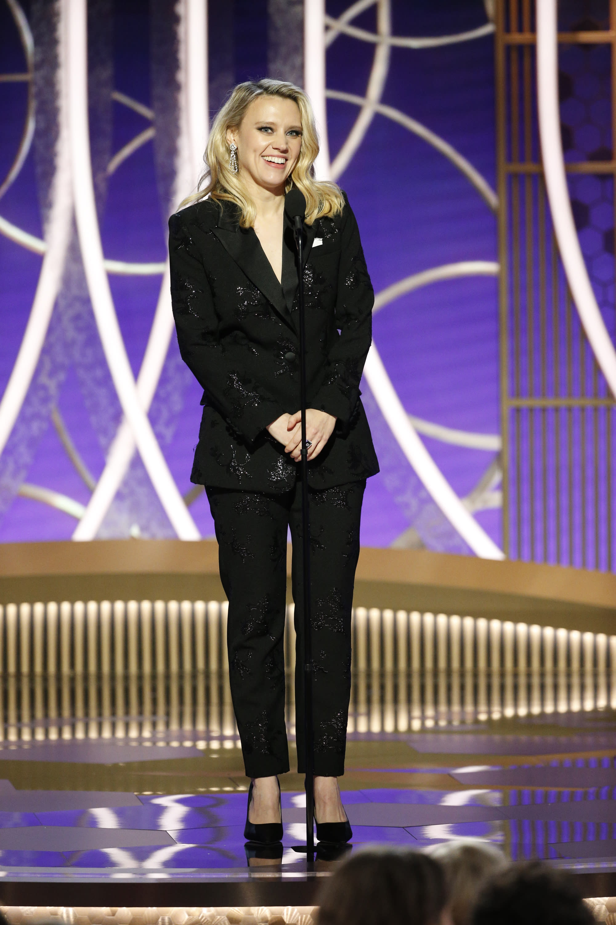 BEVERLY HILLS, CALIFORNIA - JANUARY 05: In this handout photo provided by NBCUniversal Media, LLC, Kate McKinnon speaks onstage during the 77th Annual Golden Globe Awards at The Beverly Hilton Hotel on January 5, 2020 in Beverly Hills, California. (Photo by Paul Drinkwater/NBCUniversal Media, LLC via Getty Images)