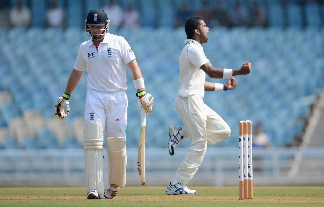 MUMBAI, INDIA - NOVEMBER 03:  Ian Bell of England leaves the field after being dismissed by Kshemal Waingankar of Mumbai A during day one of the tour match between Mumbai A and England at The Dr D.Y. Palit Sports Stadium on November 3, 2012 in Mumbai, India.  (Photo by Gareth Copley/Getty Images)