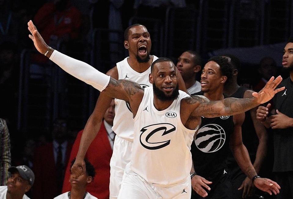 LeBron James and Kevin Durant played as teammates for the first time in an All-Star Game this past February. (Getty Images)