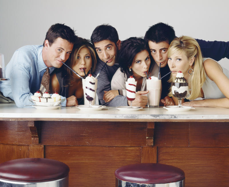 FRIENDS -- Season 2 -- Pictured: (l-r) Matthew Perry as Chandler Bing, Jennifer Aniston as Rachel Green, David Schwimmer as Ross Geller, Courteney Cox as Monica Geller, Matt LeBlanc as Joey Tribbiani, Lisa Kudrow as Phoebe Buffay (Photo by NBC/NBCU Photo Bank via Getty Images)