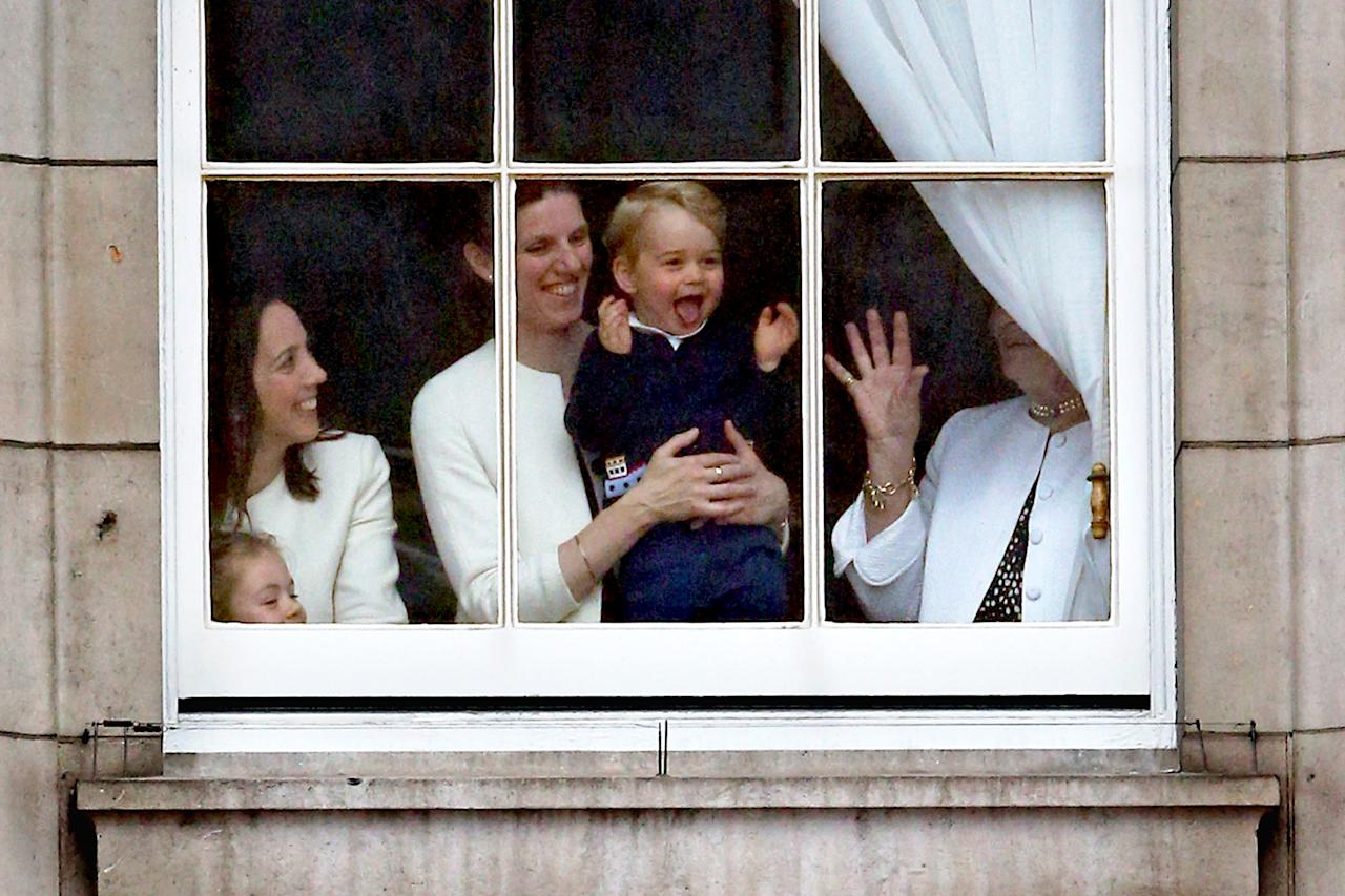<p>When he got so excited looking out the window during the Trooping The Colour ceremony in 2015. Source: Getty </p>