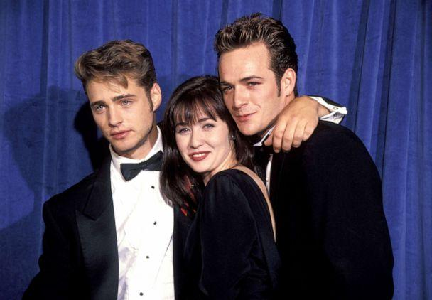 PHOTO: Jason Priestley, Shannen Doherty and Luke Perry at the Pasadena Civic Center in Pasadena, Calif., Aug. 25, 1991. (Ron Galella Collection via Getty Images)