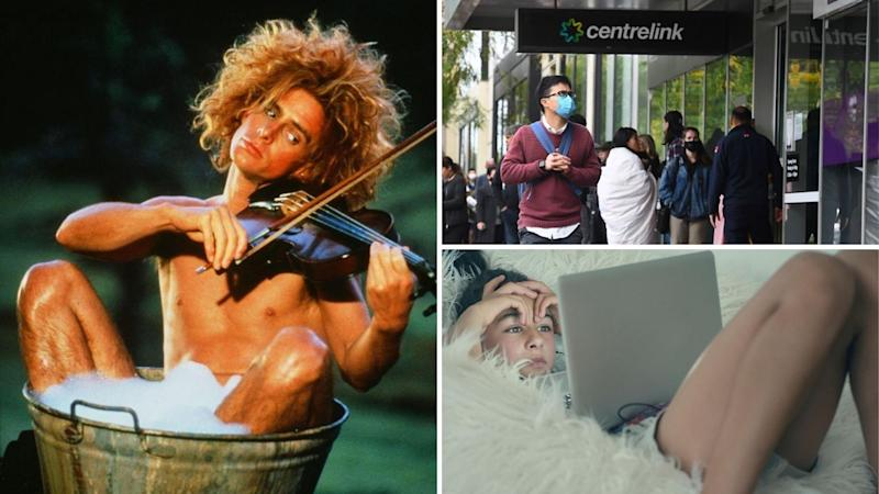 Yahoo Serious playing a violin on the left, a long Centrelink queue on the top right, and a woman watching streaming video on the bottom right.