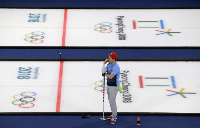 United States' Matt Hamilton prepares for their turn during the men's curling finals match against Sweden at the 2018 Winter Olympics in Gangneung, South Korea, Saturday, Feb. 24, 2018. United States won gold. (AP Photo/Aaron Favila)