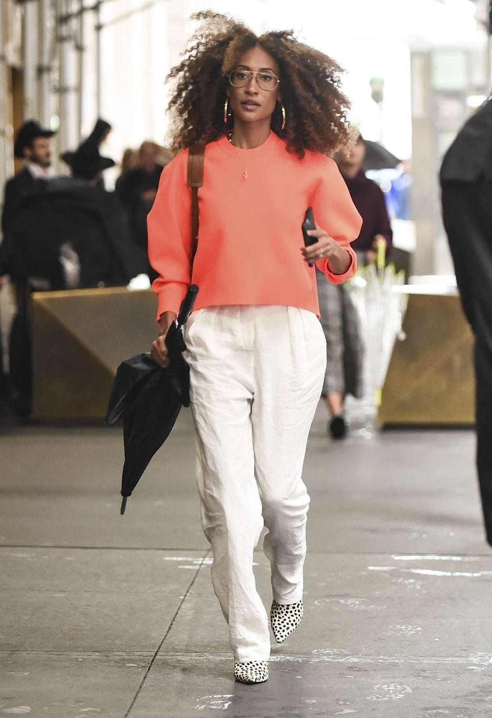 """<p><a href=""""https://www.seventeen.com/fashion/g27155530/how-to-wear-all-white/"""" rel=""""nofollow noopener"""" target=""""_blank"""" data-ylk=""""slk:White staple pieces"""" class=""""link rapid-noclick-resp"""">White staple pieces</a> have a longer street life than just the summertime. Pair your favorite pieces with fall trends (this year, neons and leopard print) to keep them in season.<br><br></p>"""