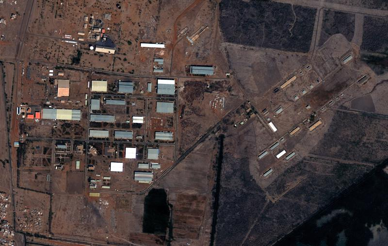 "The Yarmouk military complex in Khartoum, Sudan seen in a satellite image made on Oct. 25 2012, following the alleged attack. A U.S. monitoring group says these satellite images of the aftermath of an explosion at a Sudanese weapons factory suggest the site was hit by an airstrike. The Sudanese government has accused Israel of bombing its Yarmouk military complex in Khartoum, killing two people and leaving the factory in ruins.The images released by the Satellite Sentinel Project to The Associated Press on Saturday Oct 27 2012 showed several 52-foot wide craters. A spokesman for the project said military experts found the craters to be ""consistent with large impact craters created by air-delivered munitions."" Israeli officials have neither confirmed nor denied striking the site, instead accusing Sudan of playing a role in an Iranian-backed network of arms shipments to Hamas and Hezbollah. (AP Photo/ DigitalGlobe via Satellite Sentinel Project)"